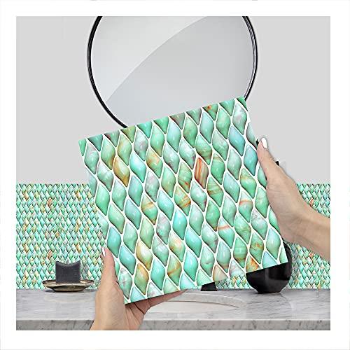JAXU CWN 'ART K Tipo 3D Pegatinas de Azulejos de Bricolaje, Pegatinas de Pared de PVC a Prueba de Agua decoración para la decoración del Dormitorio de la Cocina Cada Paquete de 10 Piezas
