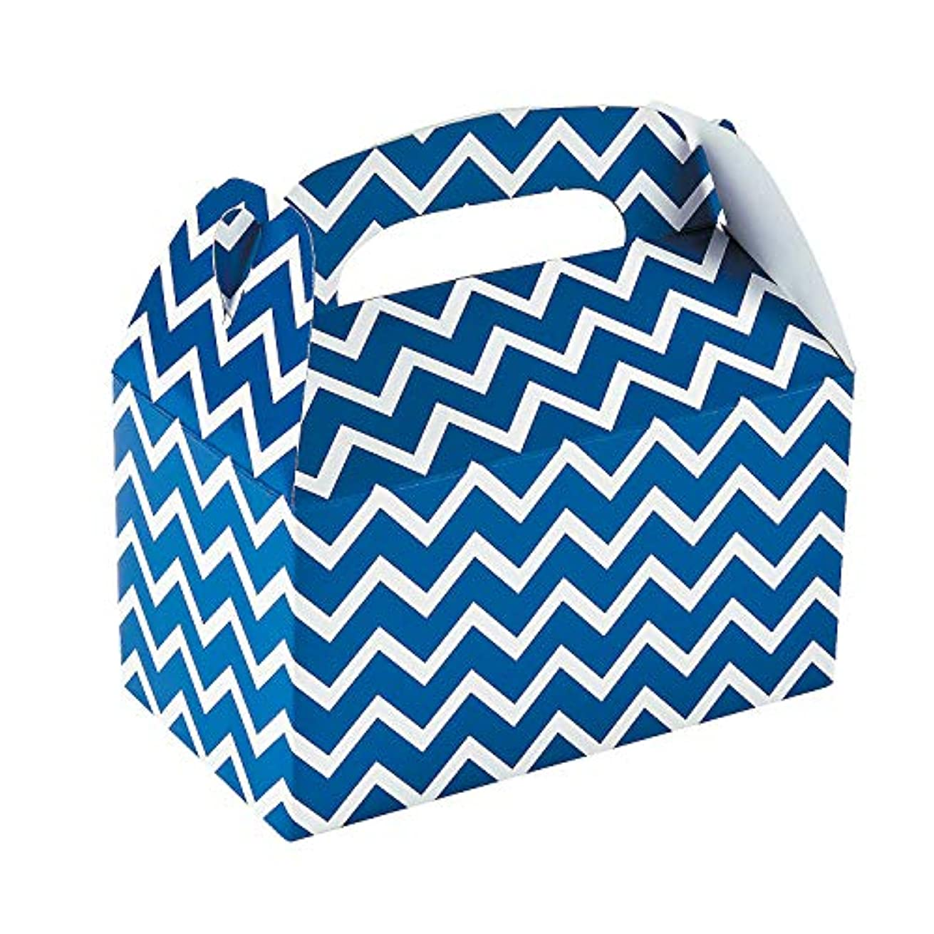 Fun Express Paper Blue Chevron Treat Boxes - Pack of 12