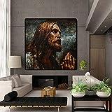 JHGJHK Ore para Que la Pintura al óleo Abstracta de Jesús Sea la Primera opción para la decoración del Retrato del hogar de la Sala de Estar