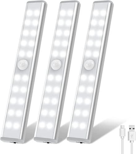 Wardrobe Light, OxyLED Motion Sensor Closet Lights, 20 LED Under Cabinet Lights, USB Rechargeable Stick-on Stairs Ste...