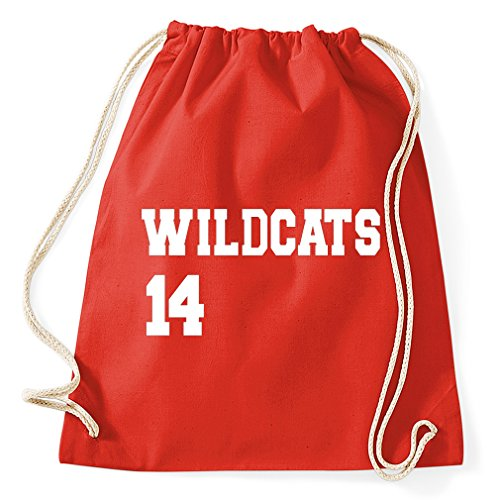 Styletex23 Highscool Musical Wildcats 14 Logo Turnbeutel Sportbeutel, red
