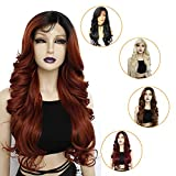 Ebingoo Lace Front Wig with Black Roots Copper Red Wigs with Long Curly Wavy Heat Resistant Synthetic Hair Wigs with Baby Hair Side Part 26 inches
