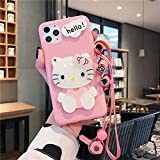 DVR 4000 iPhone 11 Pro Max Case,Cute Bow Bling Glitter Cartoon Funny Hello Cat Mirror Design Slim Soft Silicone Rubber Protective Phone Case for iPhone 11 Pro Max 6.5 inch,Pink