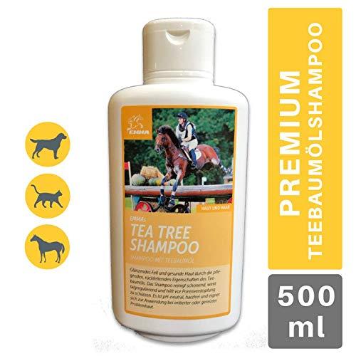 EMMA® Teebaumöl Pferdeshampoo I Hundeshampoo I Pflegeshampoo Teebaum-Öl gegen Juckreiz I Shampoo für Pferde empfindlicher Haut I Detangle I Shampoo reinigt juckende Haut Schweif Mähne 500ml