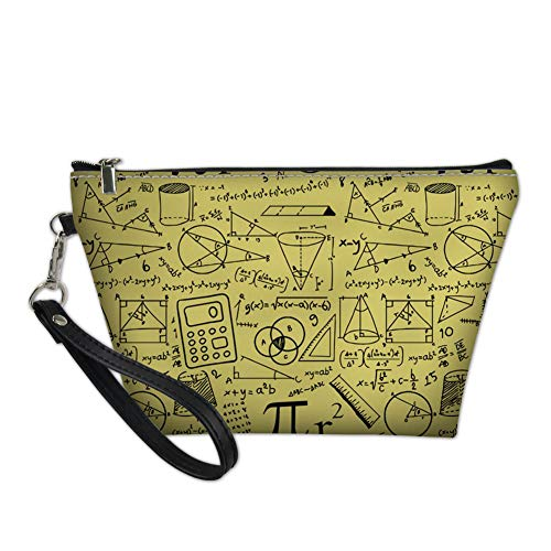 Amzbeauty Womens Math Genius Cosmetic Bags PU Leather Purse Toiletry Pouch Travel Makeup Bag with Handle Zipper