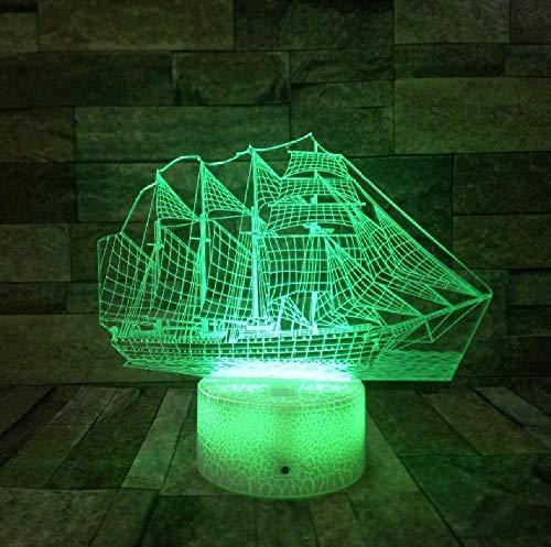 Sailing Sea Boat Ship 3D Night Light Table Lamp Holiday Party Decor Gifts 3D Illusion Lamp