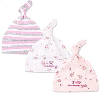68a4c36fe01e2 Tukistore Lot de 3 Chapeau Bonnet de Nouveau-né Coton Chapeau de Cérémonie  Bonnet de