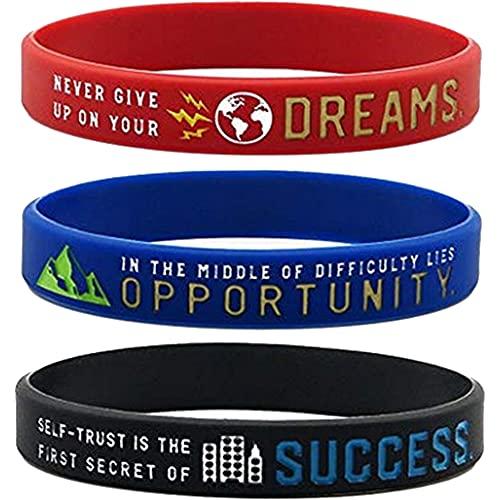 PKQTOP Pulseras de silicona, pulseras motivadoras, pulseras inspiradoras deportivas, pulseras flexibles de fitness para correr, ir de viaje, bailes, gimnasio.