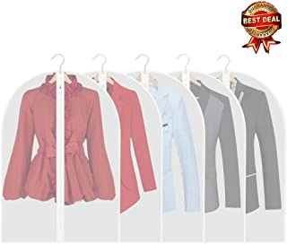 Thipoten Garment Bags, Set of 5 Lightweight 33 Inch Dust Proof Suit Bags with Full Stainless Steel Zipper, Garment Bags for Storage/Closet/Travel (Translucent, 24 x33 Inches)