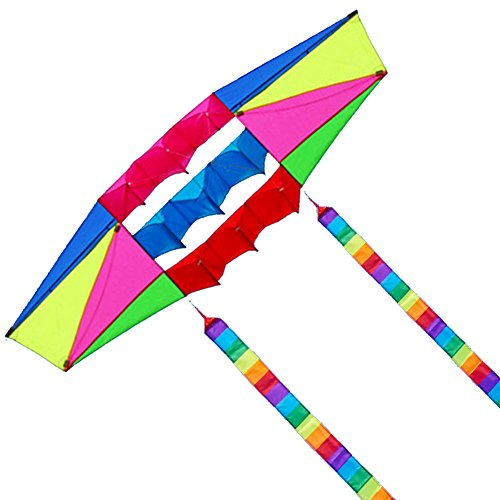 Besra Huge 98inch Single Line 3D Radar Kite with Flying Tools 2.5m Power Box Kites with 2 Tails Outdoor Fun Sports for Adults (Long Tail)