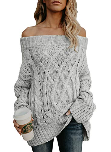 Astylish Loose Knitted Off The Shoulder Oversized Sweater