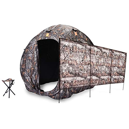 Rukket Hunting Blind | Ground Blind Stand for Deer, Turkey, Duck Hunting (Hunting Blind + Ground Blind + Stool)