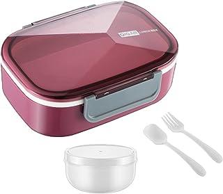 Lunchlåda, läckagesäker Bento Box 1500 ml med 3 fack och bestick Set Matbehållare Mikrovågsugn uppvärmning för barn vuxna,...