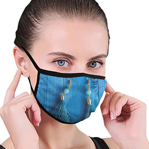 Dataqe blauwe oorbellen gezicht maskers doek masker voor stofbescherming katoen wasbaar herbruikbaar voor mannen en vrouwen universeel