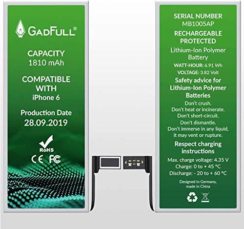 GadFull Batteria compatibile con iPhone 6 | 2019 Data di produzione | Manuale Profi Kit Set di Attrezzi | Batteria di ricambio senza cicli di ricarica | Con tutti gli APN originali