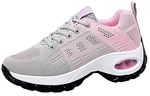 2020 Zapatos cuña Mujer Zapatillas de Deportivas Plataforma Mocasines Primavera Verano Planas Ligero Tacon Sneakers Cómodos Zapatos para Mujer, Gray,42 EU