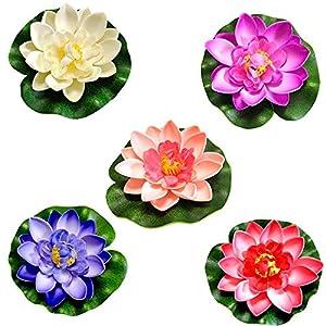 5 Pcs Flores Artificiales Flotantes,Flor de Loto Artificial de Espuma Flotante,Lirio Agua Artificial Flotante Estanque…