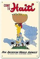 ハイチパンアメリカンワールドエアウェイズに来てください 金属板ブリキ看板警告サイン注意サイン表示パネル情報サイン金属安全サイン