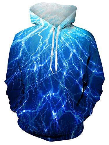 Herren Blauer Blitz Hoodies 3D Gedruckt Neuheit Pullover Mit Kapuze Langarm Sweatshirt mit Fleece Futter M