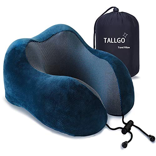 Travel Pillow, Best Memory Foam Neck Pillow Head Support Soft Pillow for Sleeping Rest, Airplane Car & Home Use (Dark Blue)