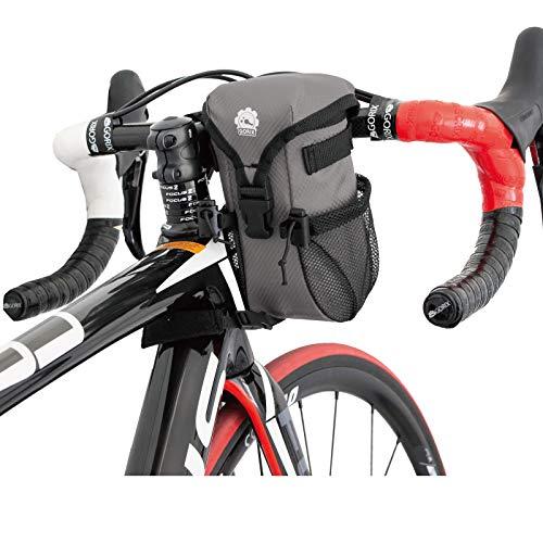 GORIX ゴリックス 自転車用 ハンドルバッグ ステム フロント (B16) (グレー)