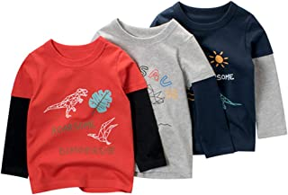 Toddler Boys' Long-Sleeve T-Shirts Little Kids Dinosaurs...