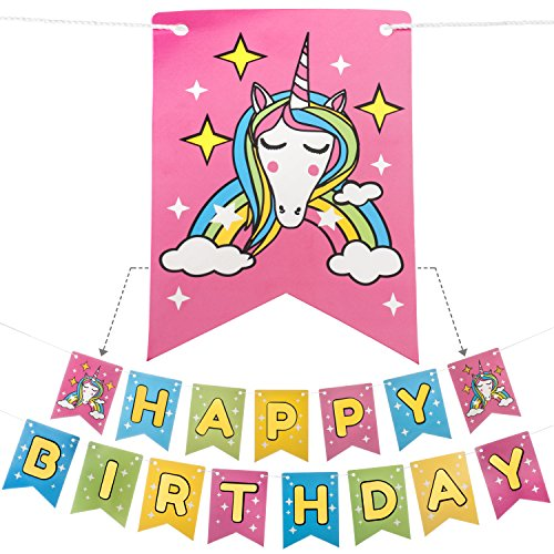 Unicorn Happy Birthday Banner | PRE-STRUNG with STRONG ROPE | GOLD FOIL LETTERS | Perfect Unicorn Party Decor