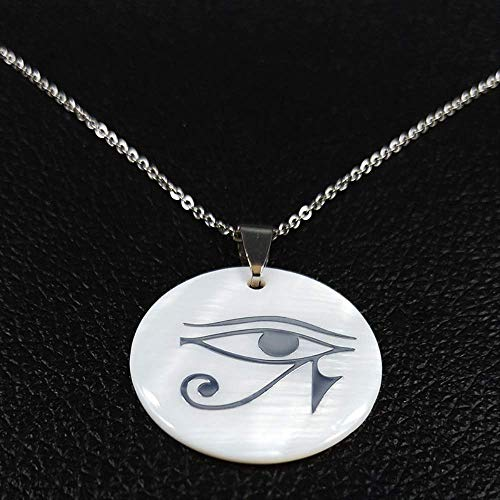 Fashion Ancient God Horus Eye Stainless Steel Shell Necklaces Third Eye Mandala Indian Jewelry Retro Necklace Women