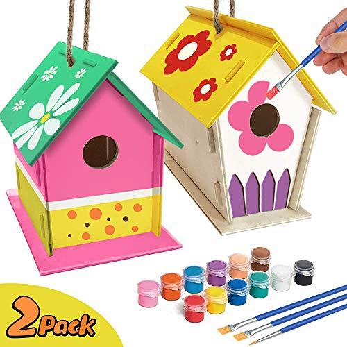 jiangwangda Kirsch Basteln für Kinder Alter 4-8 - 2Pack DIY Vogelhaus Kit - Bauen und Malen Vogelhaus (einschließlich Farben und Pinsel) Holzkunst für Mädchen Jungen Kleinkinder Alter 3-5 8-12