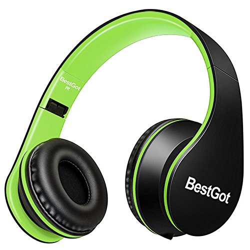 BestGot Kids Boys Headphones with Microphone for Kids Adult in-line Volume Foldable Headset with 3.5mm Plug Removable Cord (Black/Green)