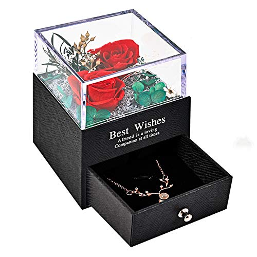 Y-home Infinity Roses, Eternal Rose Box with Necklace Gifts for Women