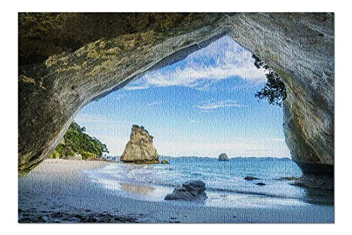 Cathedral Cove, Coromandel, New Zealand - View of the Sea from the Cave 9017624 (19x27 Premium 1000 Piece Jigsaw Puzzle, Made in USA!)