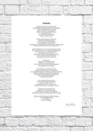 Inspirierende, Gedicht von Max Ehrmann 'Desiderata'Größe A4 (Kunstdruck)-Poster