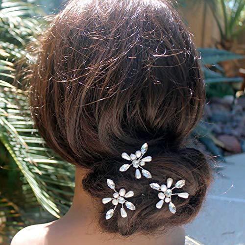 Horquillas para el pelo Fairvir para novia con perlas de cristal plateadas...