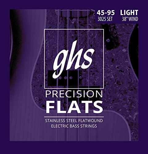 """GHS Strings 4 Precision Flats, Stainless Steel Flatwound Bass Strings, 38"""" Winding, Light (.045.095) (3025)"""