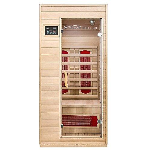 Home Deluxe – Infrarotkabine Redsun S – Keramikstrahler, Holz: Hemlocktanne, Maße: 90 x 90 x 190 cm | Infrarotsauna für 1-2 Personen, Sauna, Infrarot, Kabine