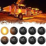PSEQT 3/4' Round LED Side Marker Lights Clearance Turn Signal Indicators Bullet Grommet Light Waterproof for Trailer Truck Car Bus Van Pickup RV Wrangler Silverado (10pcs, Smoked Lens & Amber LED)