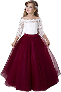 Flower Girl Dress Burgundy Tulle Puffy Pageant Dress Ball Gowns with Sleeves Floor Length