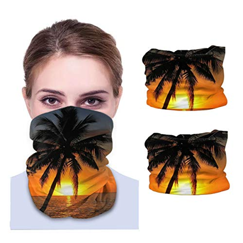 SLHFPX Sunset with Coconut Palm Tree Neck Gaiter Face Mask Set of 2 Bandana Anti-Dust Marks Windproof Neck Warmer for Outdoor Sports