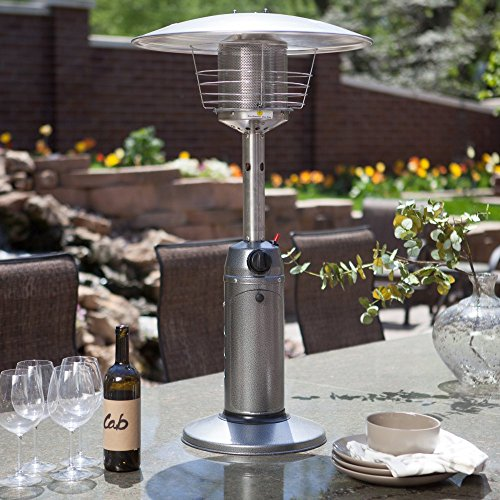 "AZ Patio Heaters HLDS032-C 35"" Tabletop Patio Heater Heater, Hammered Silver Finish"