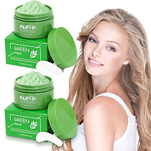 Green facial mask, green tea facial mask cream facial moisturizing and oil control, deep cleansing of pores, improving skin texture, suitable for all skin types facial care