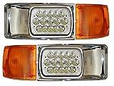 Headlight Lamp LED with Bezel Chrome and Corner Turn Signal Light - Driver and Passenger Side (Fit: International 9400 9200 8100 8200 8300 4900 4700 4800 Trucks)