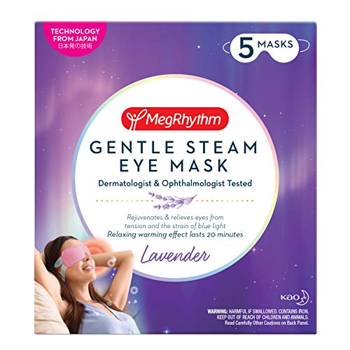 MegRhythm Gentle Steam Eye Mask, Lavender, 5 Count, Soothing Steam Eye Mask, Rejuvenates Eyes, Reduces Tension, Dermatologist and Ophthalmologist Tested