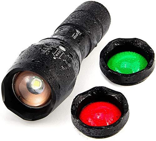 UltraFire Linterna LED Linterna Táctica A100,Rojo/Verde/LED De Luz Blanca De La Linterna,Impermeable 900 Max Lumens Zoomable Lente de cristal de intercambio de 3 colores Para La Pesca Caza
