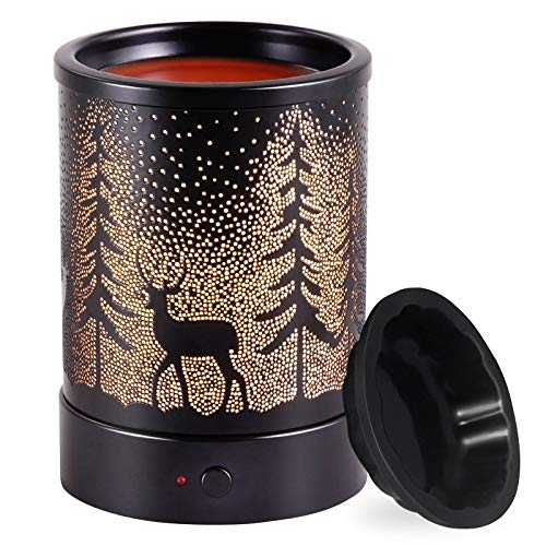 Wax-Melt Candle Warmer Electric Scented Fragrance-Burner - Wax Melter Essential Oil Heater for Spa Yoga Gym Office Home Decor (Black)