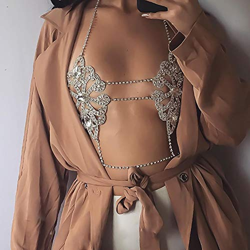 Bikini Crystal Rhinestone Sexy Chest Chain Mujeres Bra Accesorios De Joyería Summer Beach Party Dress Diamond Body Chain,Plata