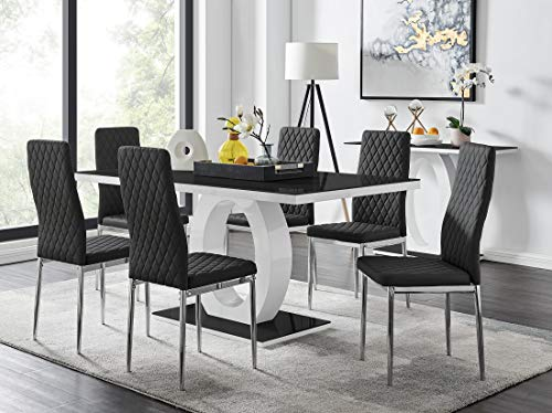 Giovani Modern Black/White High Gloss Glass Dining Table Set and 6 Contemporary Milan Chairs Set (Dining Table + 6 Black Milan Chairs)