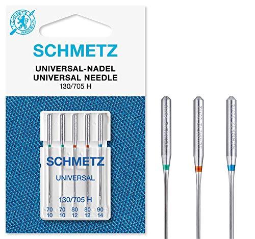 SCHMETZ Nähmaschinennadeln: 5 Universal-Nadeln, Nadeldicke 70/10-90/14, Sortiert, 130/705 H, auf jeder gängigen Haushaltsnähmaschine einsetzbar