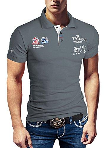 Polo New Poloshirt T-Shirt Shirt Hemd Party Slim Herren Kurzarm Pique Wow, Größe:XXL, Farbe:Grau