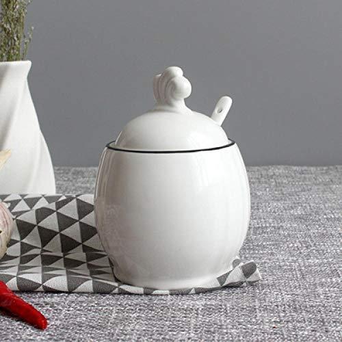 Opslag Potten luchtdicht Vegetatie Bloem Bladeren Suiker Kom Thuis Keuken Set Ceramica Zout Condiment Pot Potten met Lepel-1_Pcs_only